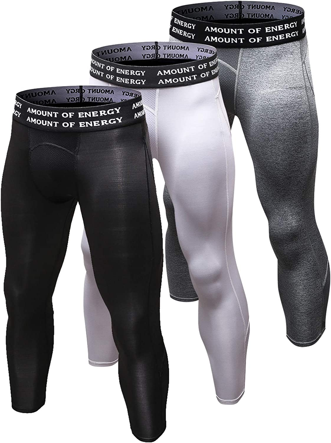 Queerier Men's 3/4 Compression Pants Dry Powerflex Sports Baselayer Pants Running Workout Tights Leggings