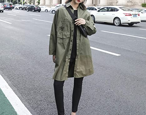 SED Otoño Largo Trench Coat Tendencia Femenina Uniforme Militar Irregular de la Chaqueta Suelta de impresión