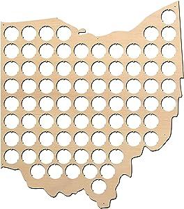 All States Beer Cap Map Ohio - 14x16 inches - 77 caps - Ohio Beer Cap Holder - Birch Plywood