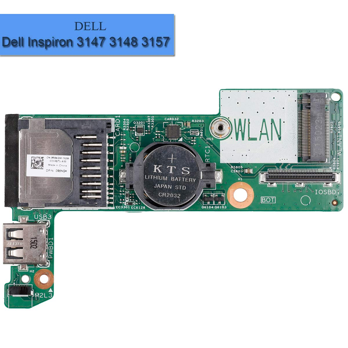 Replacement Laptop USB Card Reader Board R6NGM 0R6NGM X2NJX Compatible with Dell Inspiron 3147 3148 3157 7348 7352 7558