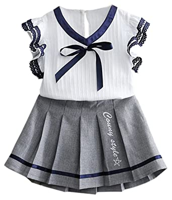 d841940bef2 Kid Girls Two Pieces Sailor Uniform Clothing Set