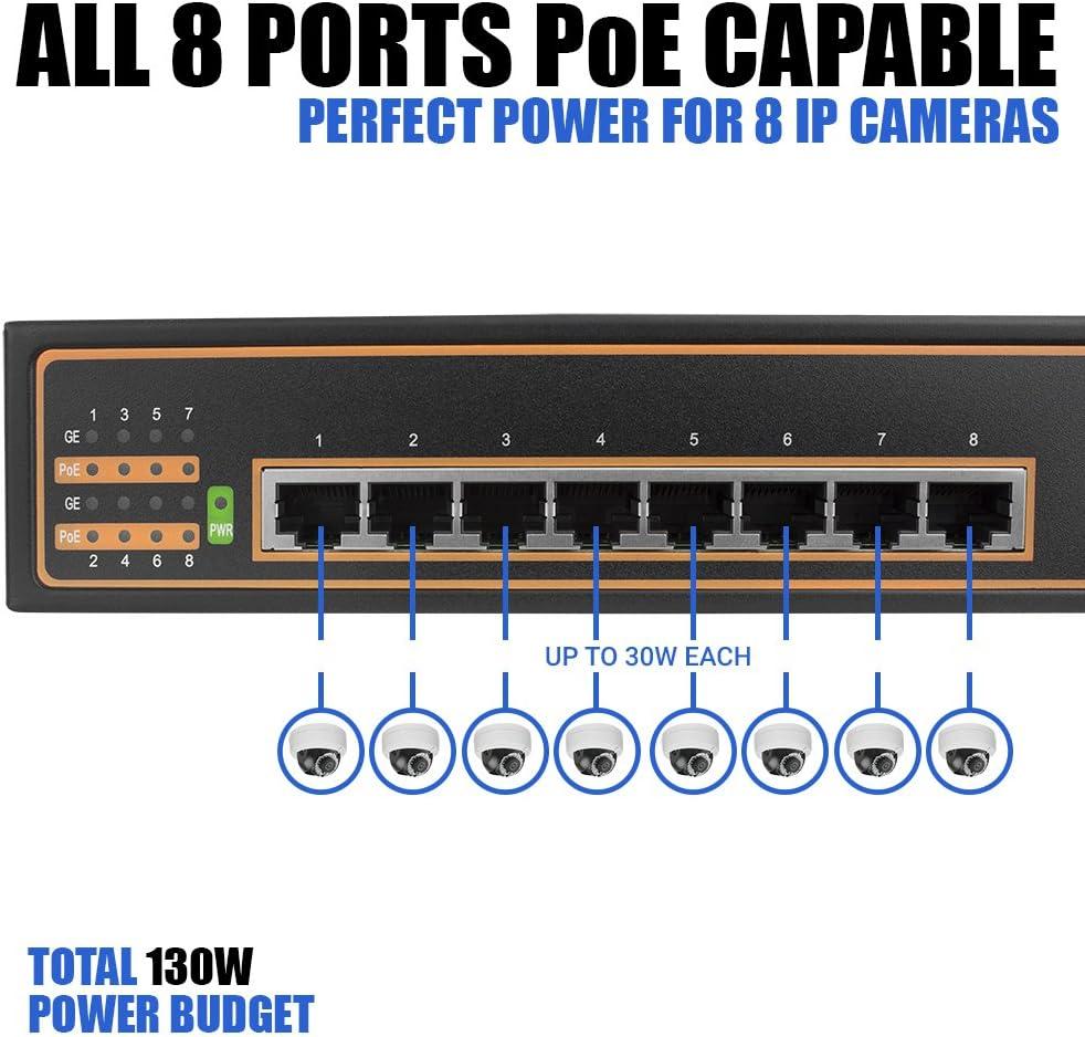 802.3af//at 8 PoE+ Port 130W 8 Port Gigabit PoE+ Switch