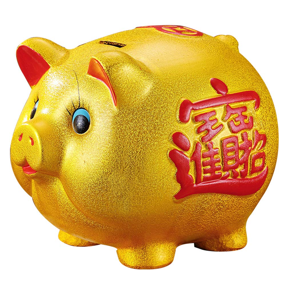 18'' Gold Pig Lucky Porcelain Fortune Pig Money Box Piggy Bank by FANCY PUMPKIN (Image #1)