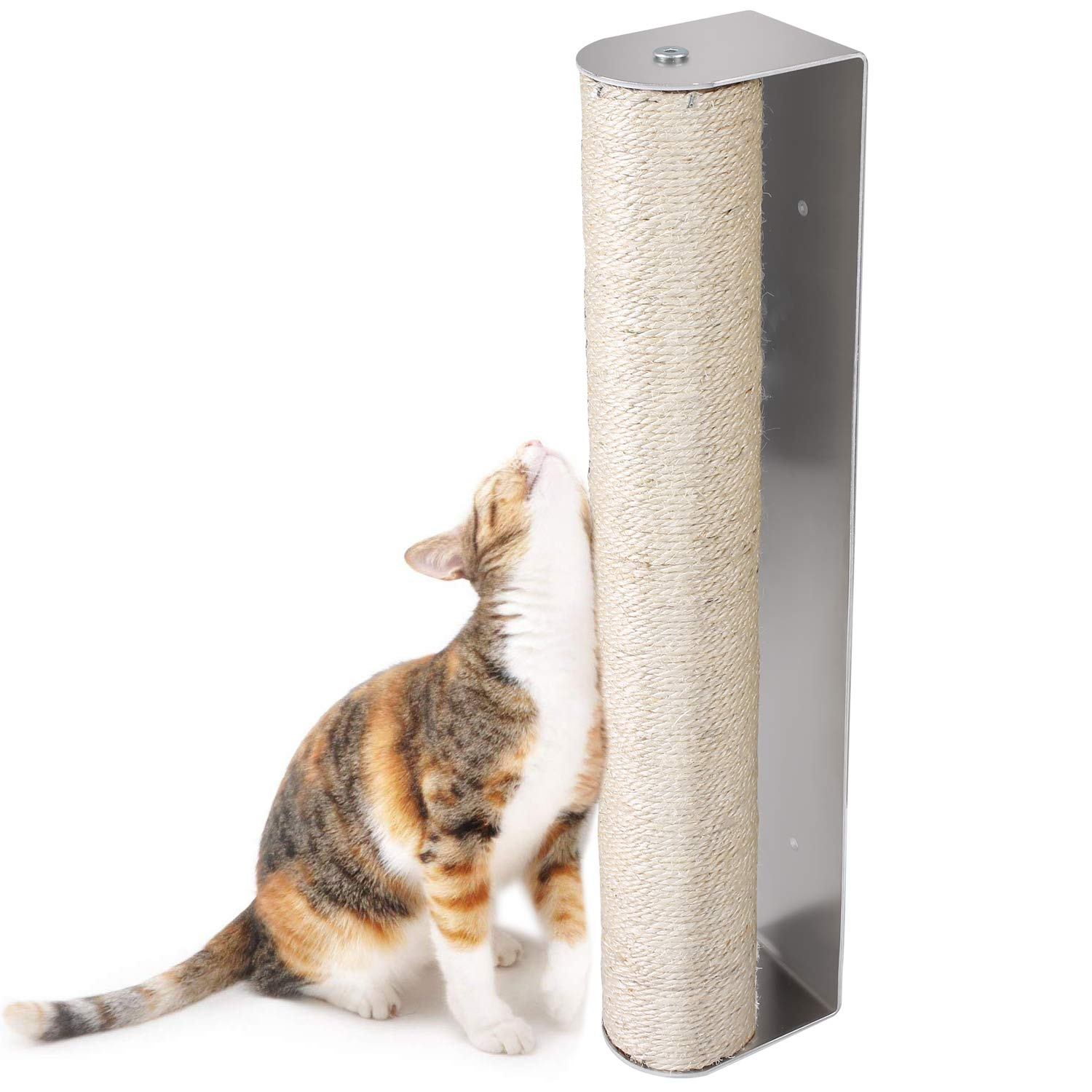 Treasborn Wall Cat Scratching Post and Cage Mounted Sisal Scratcher for Large Cats No Mess Floor Sturdy Wood Mountings Space-Saving Scratch Post Furniture Natural Vertical