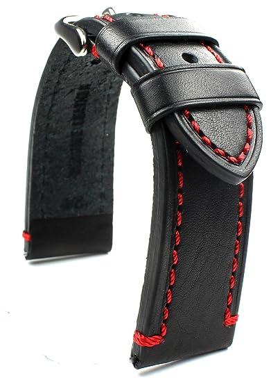 Piel de banda 24 mm banda catal onia Planeador Relojes Retro Strap Black Negro con costuras rojas: Amazon.es: Relojes