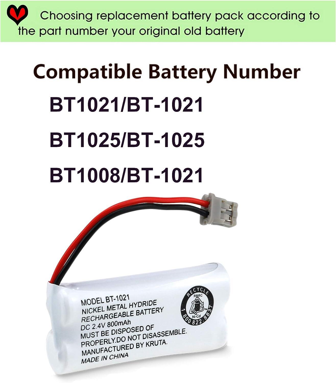 3 Pack Kruta BT-1021 BBTG0798001 Compatible with Uniden BT-1021 BT1021 BT-1008 BT-1016 BT-1025 2.4V 800mAh Cordless Handset Phone Rechargeable Replacement Battery