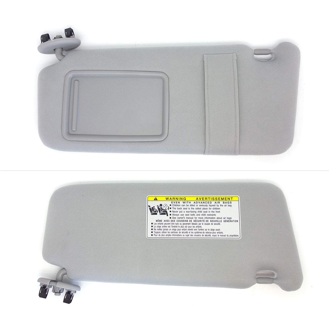 KOXUYIM Left Driver Side Windshield Sun Visor Mirror Replacement Part #74320-06780-B0 Visor Assembly Gray Fit for Toyota Camry 2007-2011 Without Sunroof and Light Left