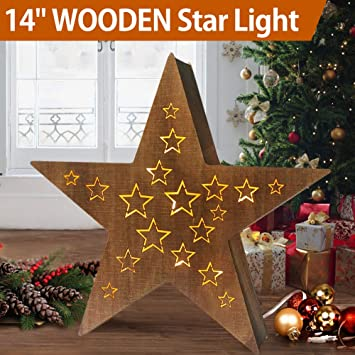 Amazoncom Bright Zeal 14 Large Lighted Wooden Christmas Star