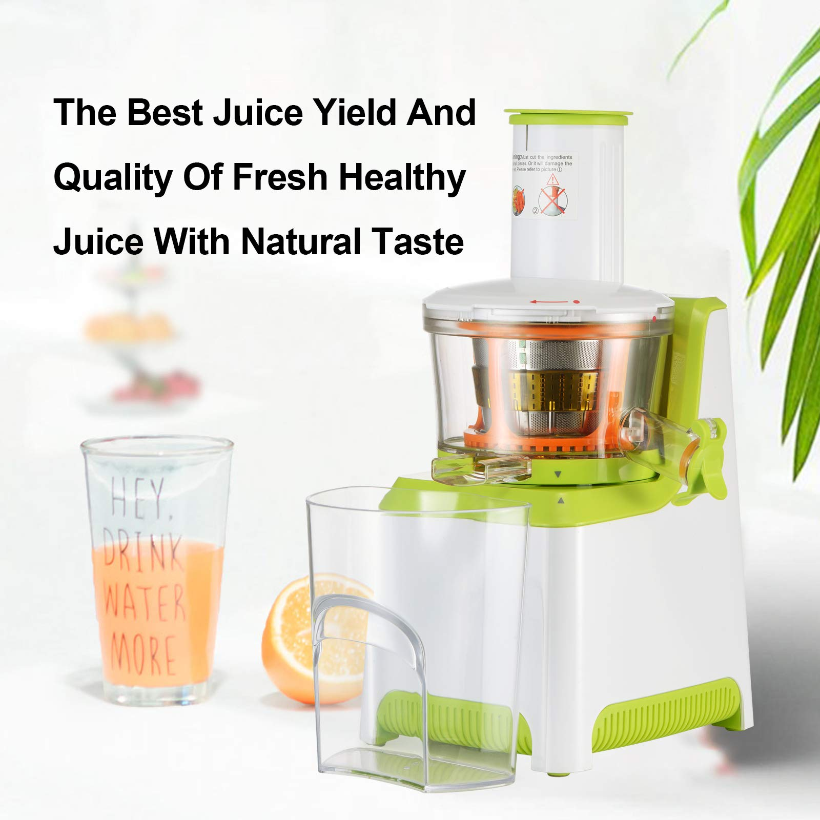 KUPPET Juicer, Slow Masticating Juicer, Higher Juicer Yield, Cold Press Juicer Machine with Quiet Motor & Reverse Function, High Nutrient Fruit & Vegetable Juice, Easy to Clean (Green&White) by KUPPET (Image #3)