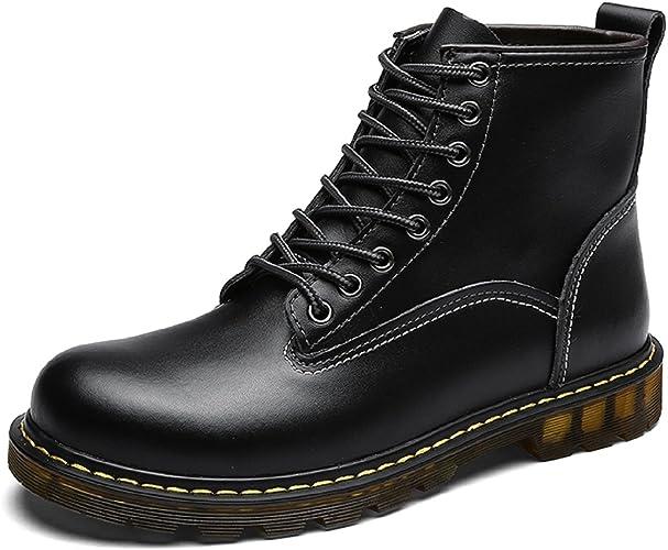 TQGOLD Hiver Imperméable Bottes Chaussures à Bottines Homme Fourrées en Lacets Boots Cuir E2YWDH9eI