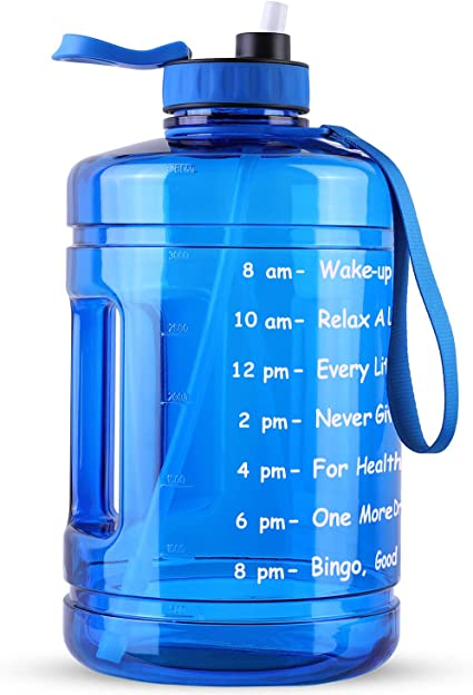 Pop Up Open Sports Big Bottle Jug with Comfortable Silicone Nozzle SLUXKE 1 Gallon Water Bottle with Time Marker and Straw BPA Free 128oz Leak Proof Motivational Large Water Bottle Jug with Handle
