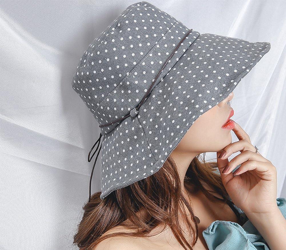 Leisial Femme Bob Chapeau de Soleil de Point donde en Coton Anti-Soleil Respirant Anti UV pour /ét/é Plage Loisir Voyage