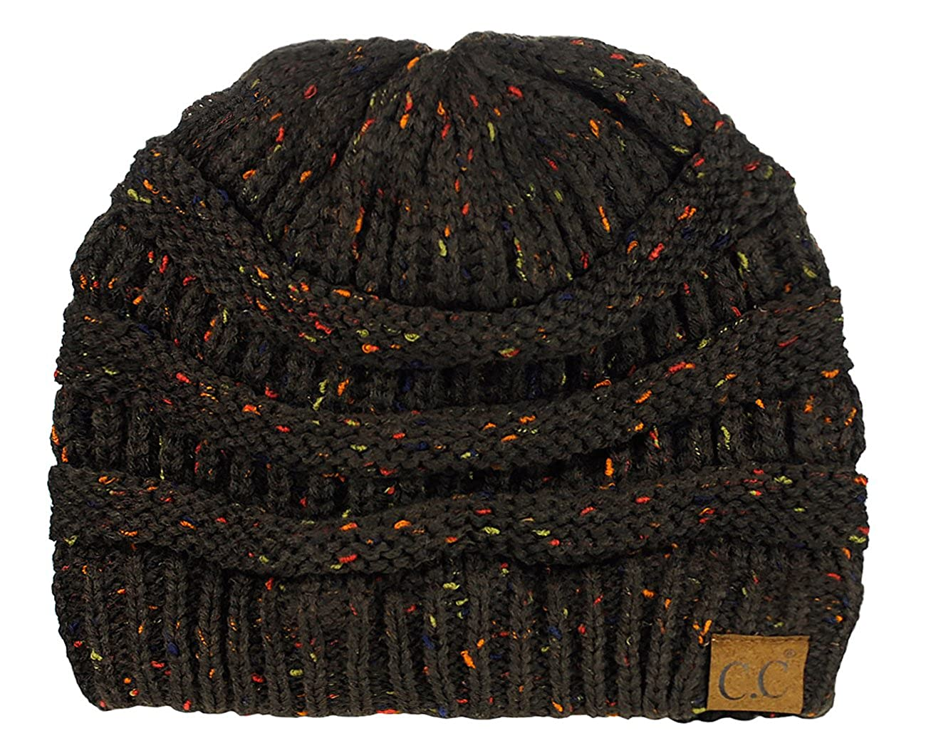 C.C Unisex Colorful Confetti Soft Stretch Cable Knit Beanie Skull Cap HAT33-BK
