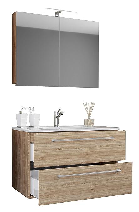VCM 3-TLG. Waschplatz Badmöbel Badezimmer Set Waschtisch Waschbecken  Schubladen Keramik Badinos Spiegelschrank Breite 60 cm: Sonoma-Eiche