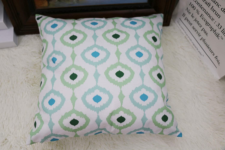 Comoco 4 Pcs Color Coordinated Geometric Digital Printing Cotton Linen Throw Pillow Case Decorative Pillowcase Cushion Cover 17 75 X 17 75 Inch 45 X 45 Cm Green Blue Amazon Co Uk Kitchen Home