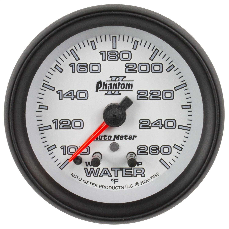 Auto Meter 7855 Phantom I 2-5/8'' 100-260 Degree F Full Sweep Electric Water Temperature Gauge with Peak Memory and Warning