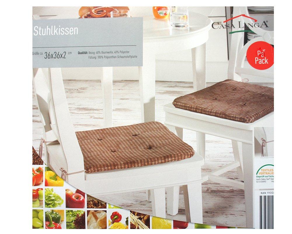 Casa Linga - Juego de 6 silla Cojín Marrón - Cuadros aprox. 36 X 36 X 2 CM, sin materiales nocivos, silla de jardín acolchado: Amazon.es: Hogar