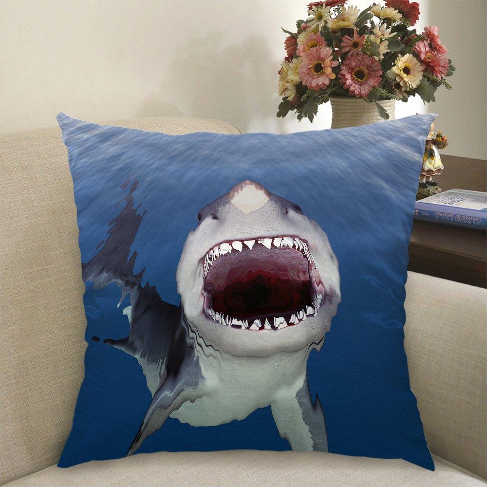 fc54e3ed2ae7 Amazon.com  Moslion Shark Pillow Home Decorative Throw Pillow Cover Case  Big Shark Mouth Blue Sea Satin Cushion Cover Square Pillow Cases for Men  Boys Girl ...