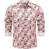 HONG YANG Mens Digital Printing 3D Pattern Full Cotton Casual Button Down Regular Fit Dress Shirt(Short Sleeve/Long Sleeve)