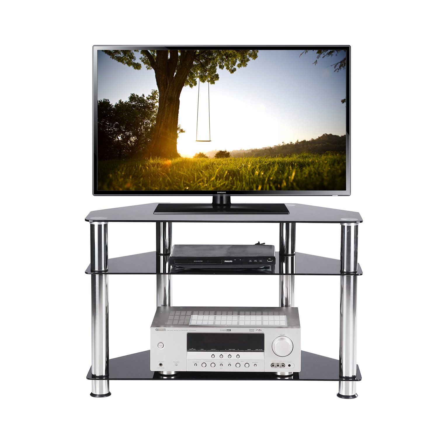 RFIVER Black Tempered Glass Corner TV Stand Chrome Legs 3 Tier Storage Shelves Suit for up to 40 inch LCD, LED Oled TVs TS1002