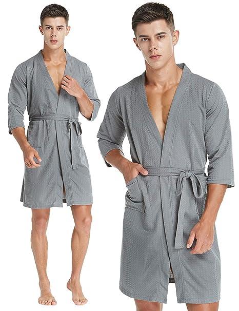 luxury best place enjoy bottom price CHOICE99 Mens Kimono Waffle Robe, Soft Hotel Spa Bath Robe 3/4 Sleeve  Lightweight Knee-Length Robe