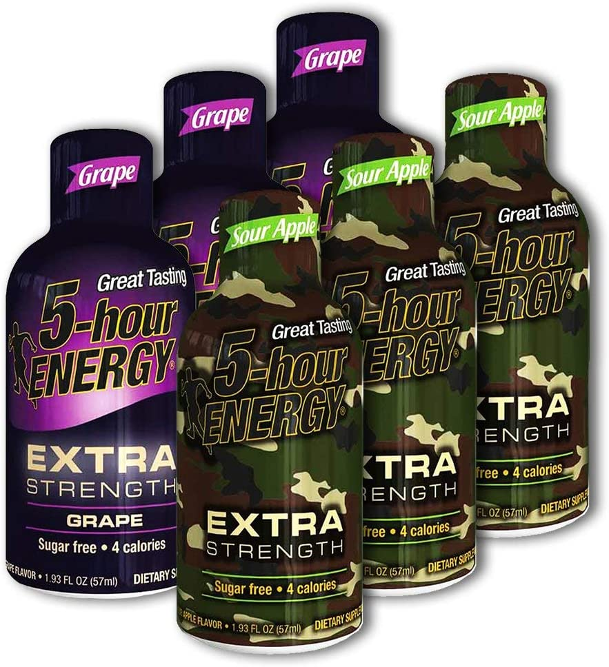 5 Hour Energy, 3 Extra Strength Grape + 3 Extra Strength Sour Apple, 6 Count