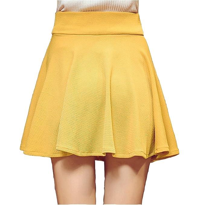 Kemosen Faldas para Mujer Verano Elástica Plisada Básica Patinador ...