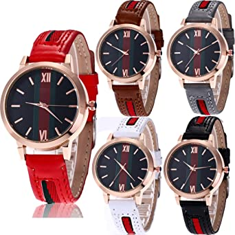 Yunanwa 5 Pack Womens Female Watches Analog Quartz Dress Wristwatch Brand Bracelet Vintage Wholesales Lots (