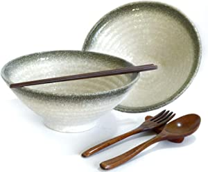10 Pieces Premium Ceramic Large Ramen Bowls Set: 2 White 32oz Noodles Bowl. Asian Chinese Japanese or Pho Soup. Includes: Wood Fork, Spoon, Chopsticks and Stands By Vallenwood! 8 In.