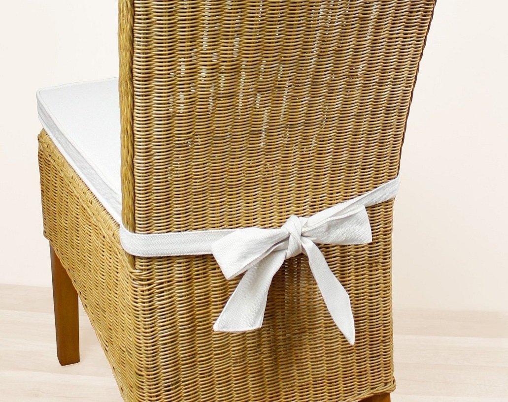 Sedex 4er Set Sitzpolster Larissa Sitzkissen Stuhlkissen Auflage Kissen Polster 100/% Baumwolle Natur