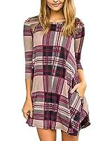 Yobecho Womens Plaid Stripe Swing Tunic Dress Casual Loose 3/4 Sleeve T-shirt Dress with Pockets