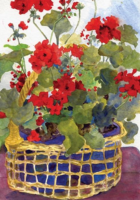 """Toland Home Garden 119136 Geranium Basket 12.5 x 18 Inch Decorative, Garden Flag (12.5"""" x 18"""")"""