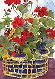 Toland Home Garden Geranium Basket 12.5 x 18 Inch Decorative Red Flower Spring Summer Garden Flag
