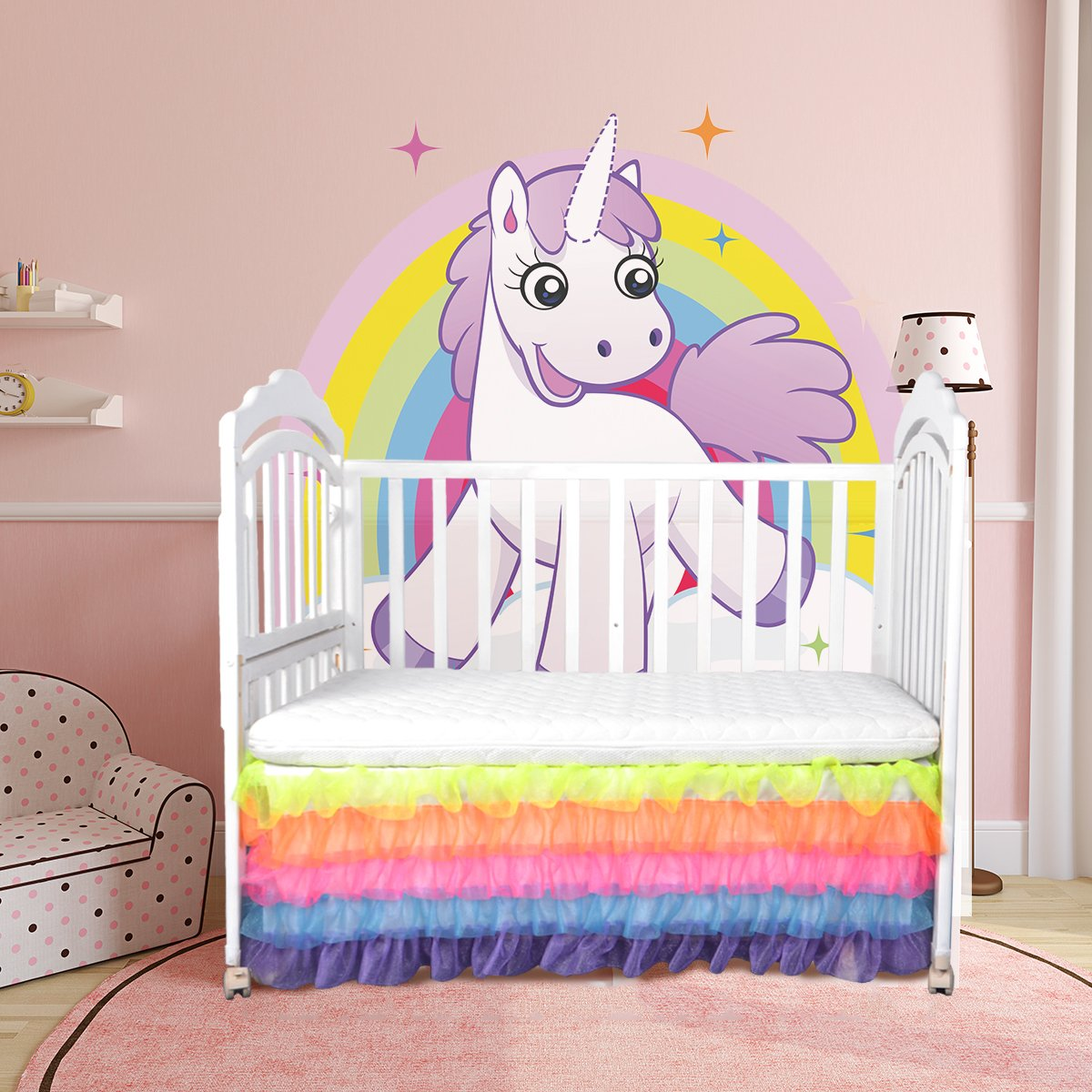 Toddler Bed Skirt Ruffle Crib Skirt for Mini Baby Boys and Girls Rainbow Tutu Bed Skirt 5Layers Drop Tulle for Baby Unicorn Party,Wedding Baby Shower Birthday Party Decorations