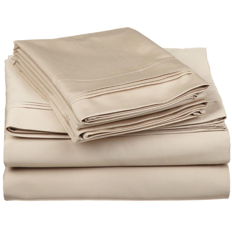 Superior - Juego de sábanas 198 x 203 cm, esquineras Profundas, de algodón de 650 Hilos y de un Solo Cabo, Color marrón Topo Liso, 4 Piezas: Amazon.es: ...