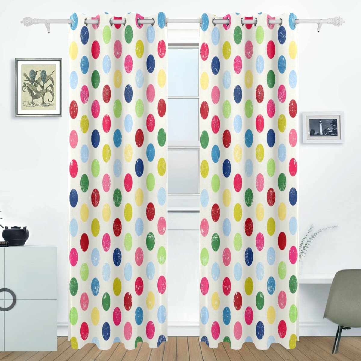 Imobaby Colorful Polka Dot Room Darkening Thermal Insulated Grommet Blackout Window Curtains For Living Room Curtain Panels Pair Black 55x84 Inch Kitchen Dining