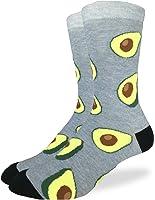Good Luck Sock Men's Avocados Crew Socks - Grey, Adult Shoe Size 7-12