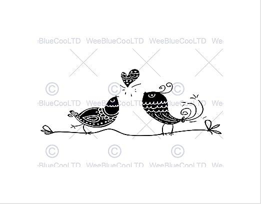 Amazon Com Painting Love Birds Black White Branch Heart Art Print B12x8128 Posters Prints