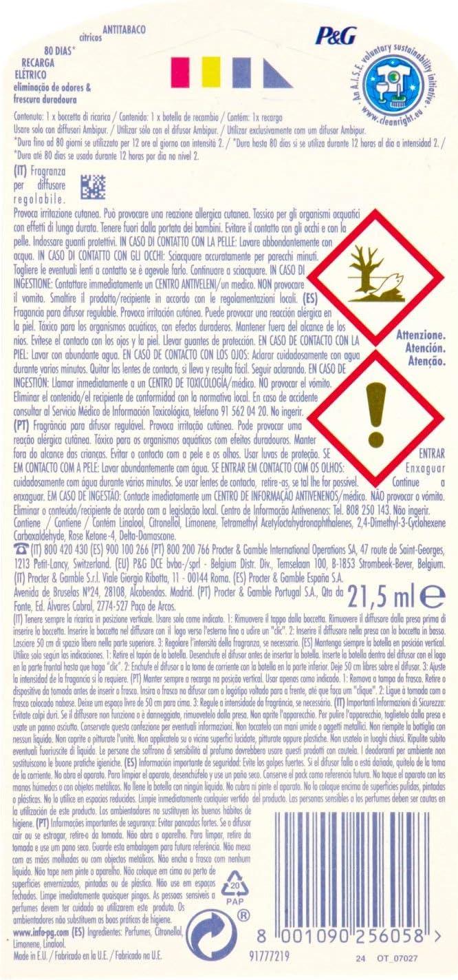 Ambi Pur Eléctrico Ambientador Recambio Anti-Tabaco - 22 ml ...
