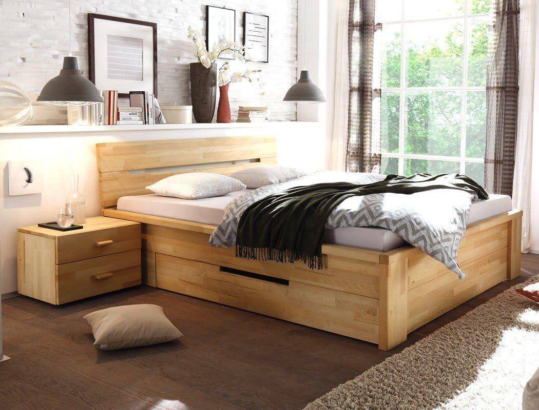 Massivholzbett Caspar + Nachttisch Kernbuche geölt Stauraumbett Holzbett  Bett Nachtkonsole Nako Schlafzimmer, Liegefläche:19 x 19  cm;Set-Inhalt:Bett