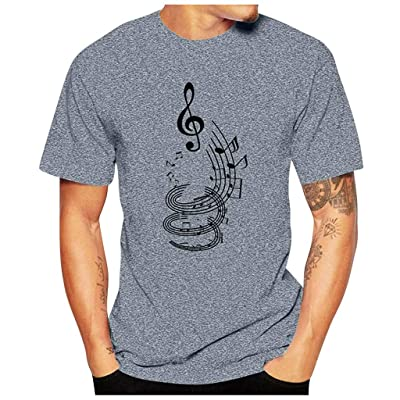 HDGTSA Men Casual Funny T-Shirt Musical Note Print Blouse O-Neck Short Sleeve Tees Tops(A Gray,3XL): Clothing