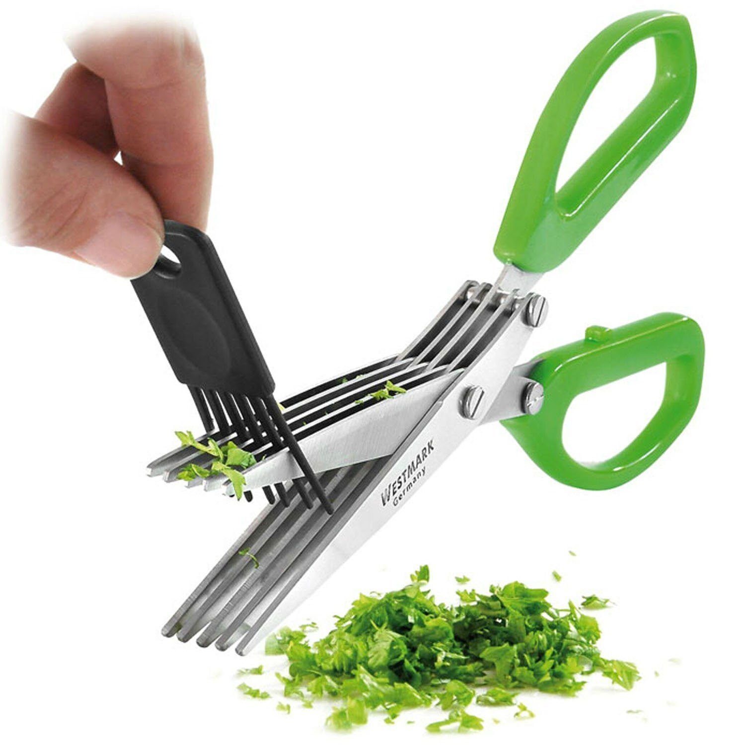 Westmark Germany Stainless Steel 5-Blade Herb Scissors with Cleaning Comb (Green) by Westmark