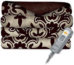 "Sunbeam Electric Heated Blanket Ultra Soft Throw 50"" x 60"" 3-Heat Settings, Auto Shut-off, Machine Washable Elegant Design, Walnut Brown"