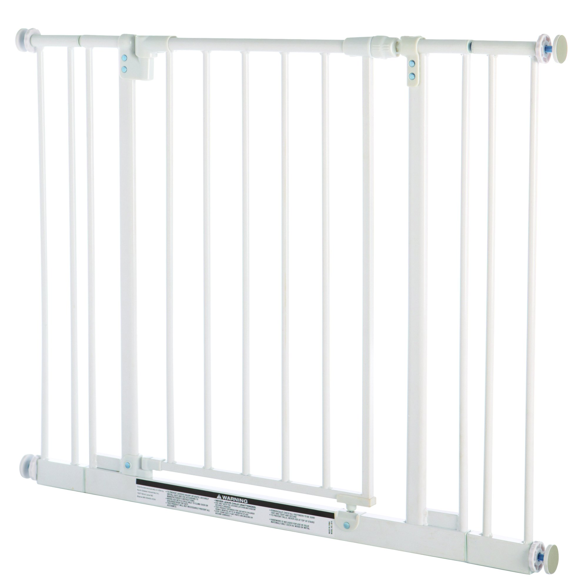 ''Easy-Close Gate'' by North States: The multidirectional swing gate with triple locking system - Ideal for doorways/between rooms. Pressure mount, fits openings 28'' to 38.5'' wide (29'' tall, Soft white) by North States (Image #1)