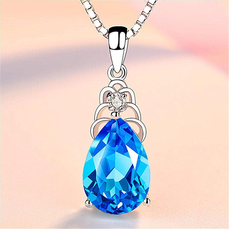 guodong Versión Coreana De Diamante Azul Topacio Collar Plateado Cadena De Clavícula Femenina Colgante De Cristal De Zafiro Colgante En Forma De Gota Femenina