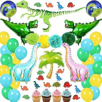 Amazon.com: Juego de decoraciones de fiesta de dinosaurios ...