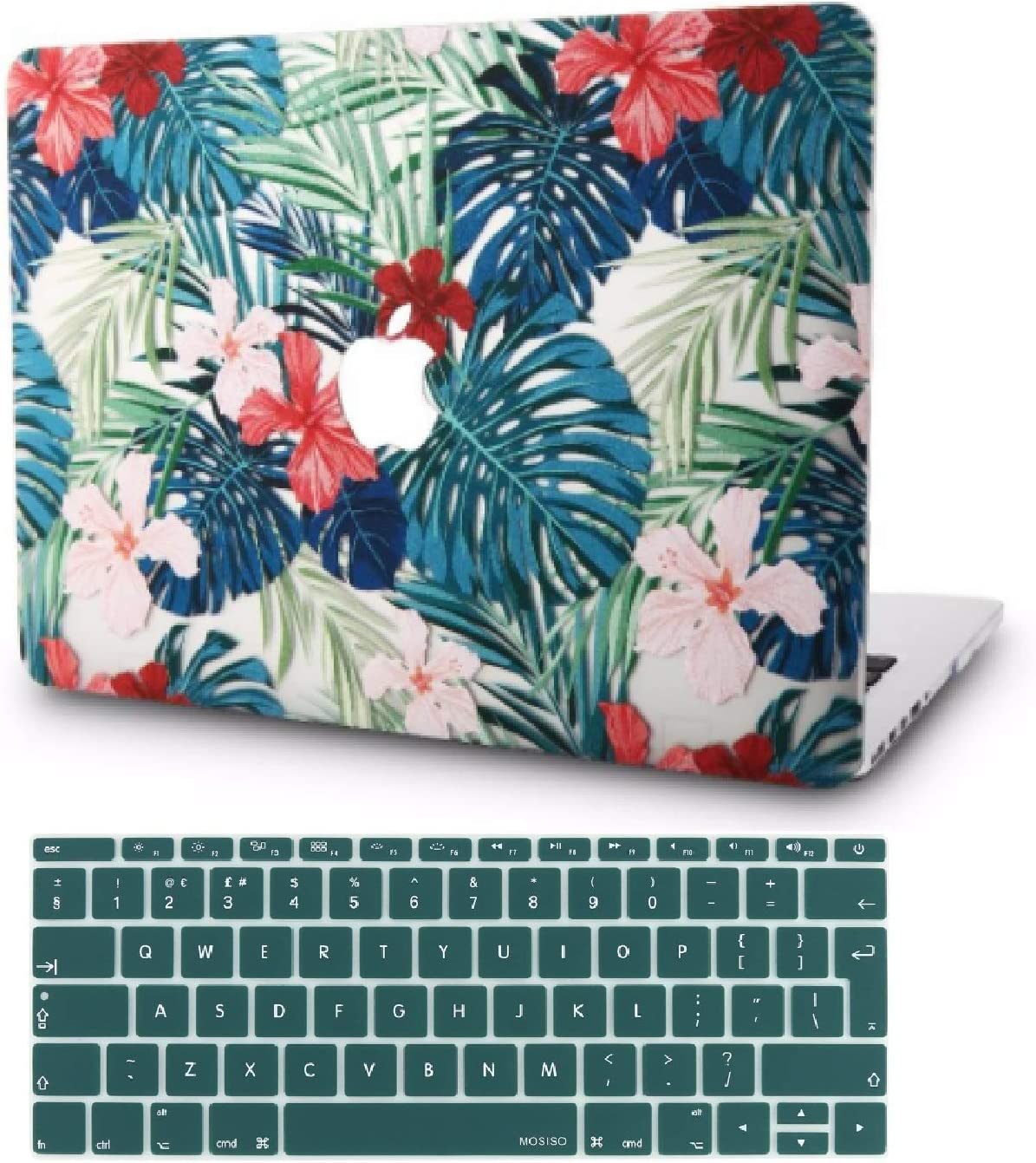 "KECC Laptop Case for MacBook Air 13"" Retina (2020, Touch ID) w/Keyboard Cover Plastic Hard Shell Case A2179 2 in 1 Bundle (Palm Leaves Red Flower)"