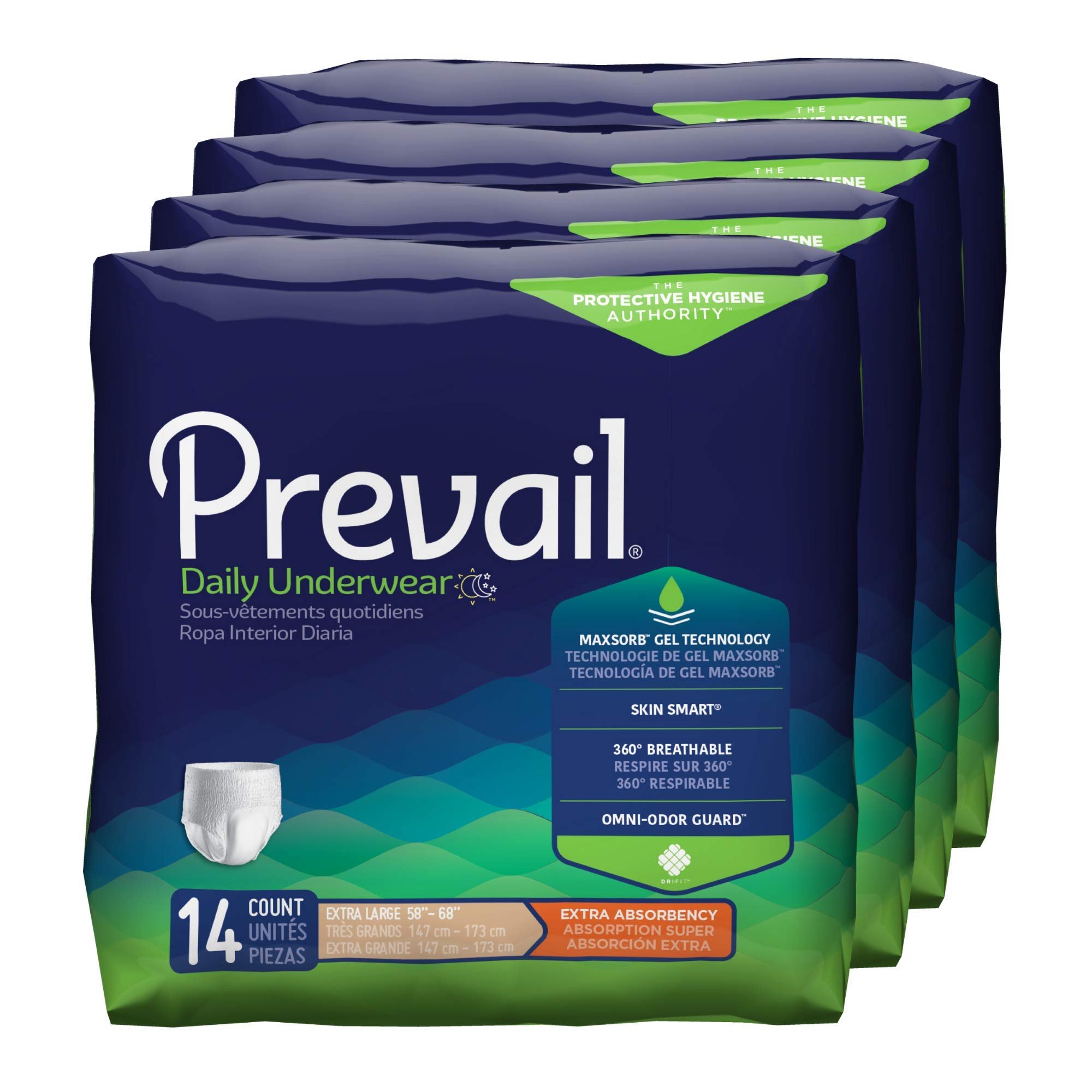 Prevail Extra Absorbency Incontinence Underwear Extra Large 56 Total Count Breathable Rapid Absorption Discreet Comfort Fit Adult Diapers by Prevail
