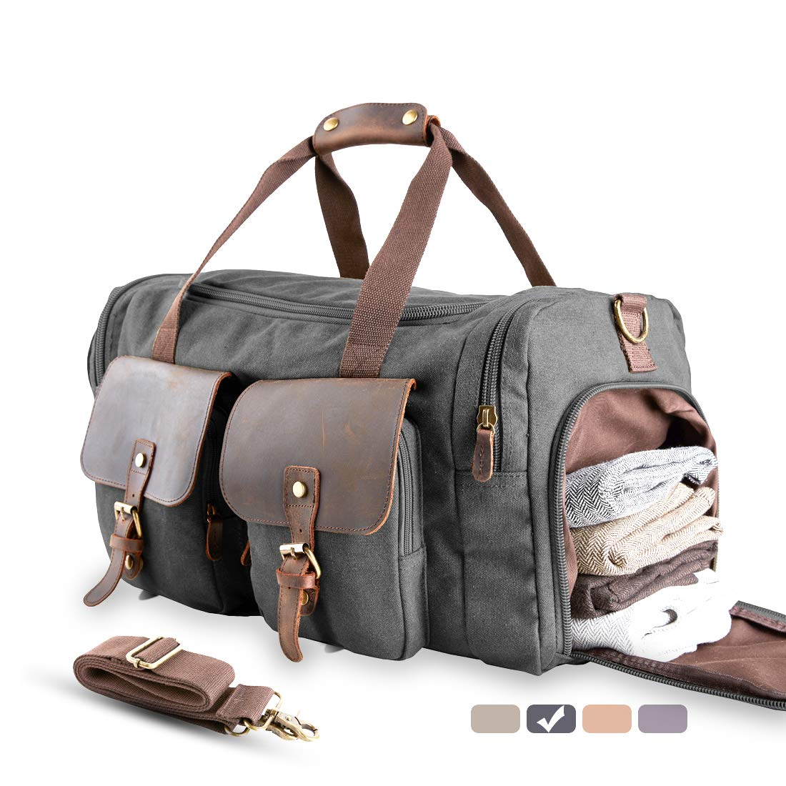 MEWAY Multi-Functional Canvas Overnight Bag With Shoes Compartment, Sports Gym Travel Duffle Weekender Bag For Women Men (SILVER GREY, ✔Genuine Leather)