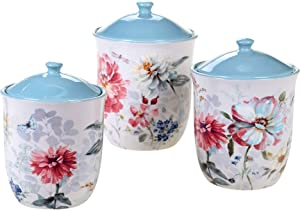 Certified International Spring Bouquet 3 Piece Canister Set, Multicolored